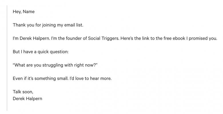 Ví dụ về email chào mừng của Mailchimp