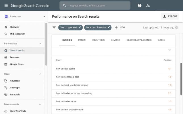 Báo cáo truy vấn của Google Search Console