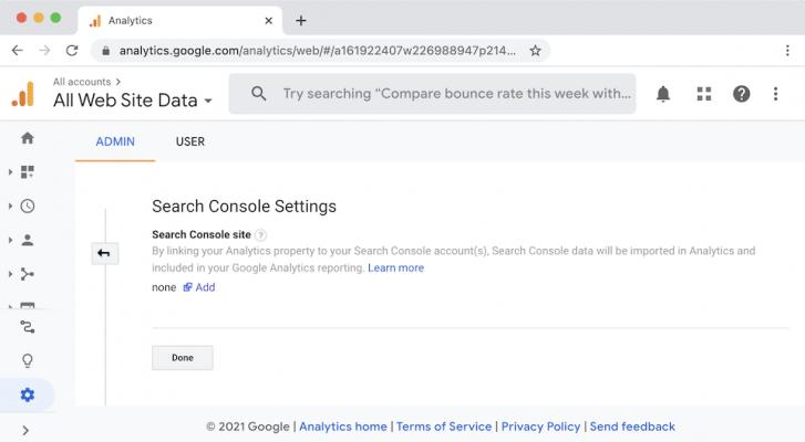 Liên kết Google Analytics với Google Search Console.