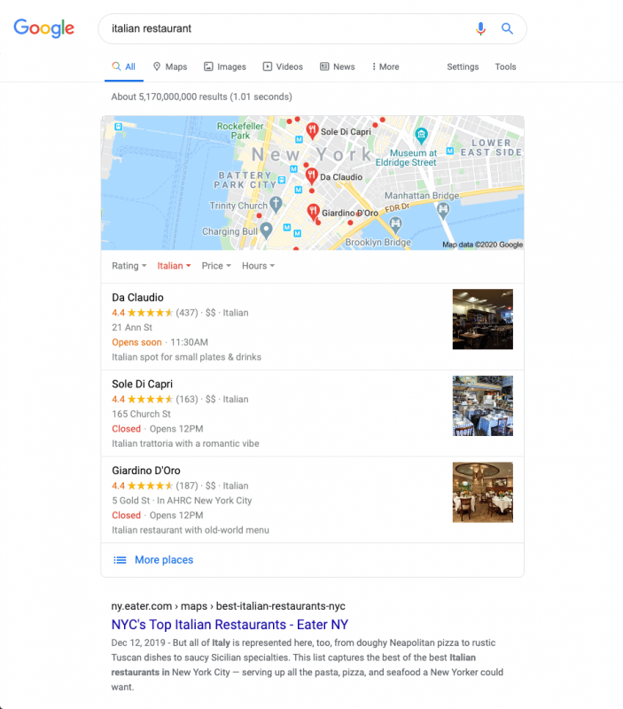 """Ví dụ về kết quả tìm kiếm địa phương của Google cho """"nhà hàng Ý"""""""