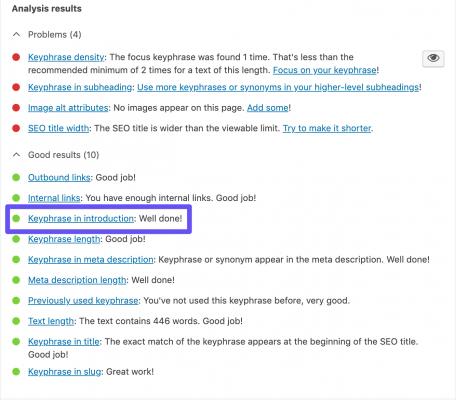 Kiểm tra 'Cụm từ khóa trong phần giới thiệu' của Yoast SEO