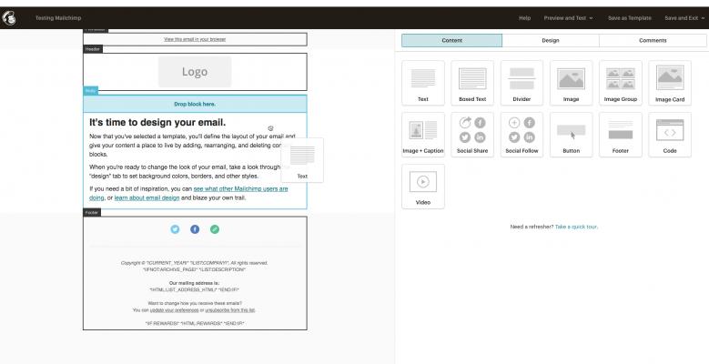Trình tạo email trong Mailchimp
