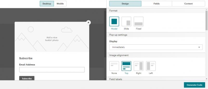 Thiết kế biểu mẫu Mailchimp