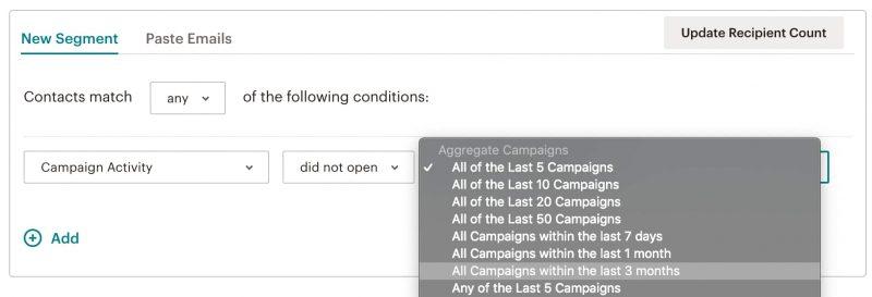 """Phân đoạn """"Không mở"""" của Mailchimp"""