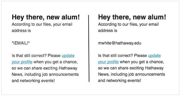Ví dụ về các thẻ hợp nhất trong Mailchimp