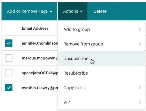 Mailchimp hủy đăng ký đối tượng để xóa danh sách