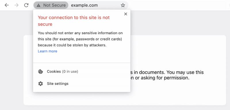 Lỗi kết nối của bạn với trang web này không an toàn