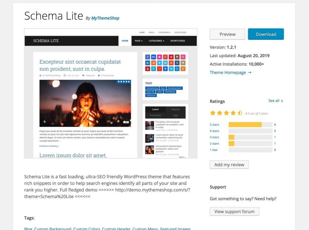 Theme WordPress Schema Lite